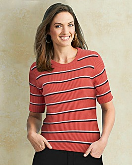 Pink Stripe Rib Top