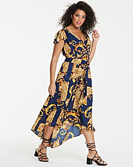 Ax Paris Curve Scarft Print Maxi Dress