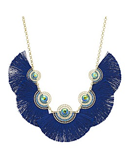 Metallic Fringe Statement Necklace