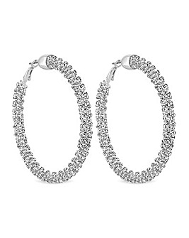 Silver Sparkle Crystal Hoop Earring