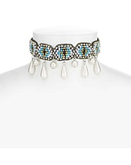 Beaded Pearl Drop Choker