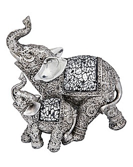 Mosaic Silver Elephant Mother & Child