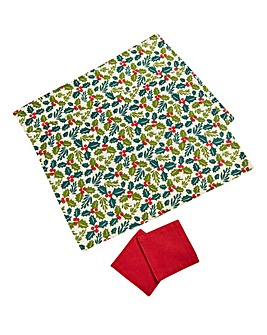 Christmas Holly Pk of 2 Placemats & Coas