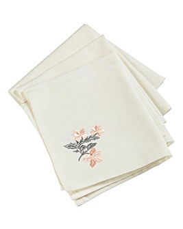 Soft Rustic Set of 4 Embroidered Napkins