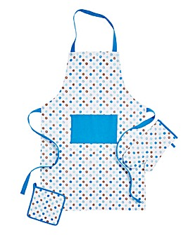 Polka Dot Set 3 Apron, Glove & Potholder