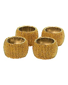 Set of 4 Beaded Napkin Rings Gold