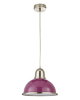 Ceiling Purple Pendant With Silver Rim