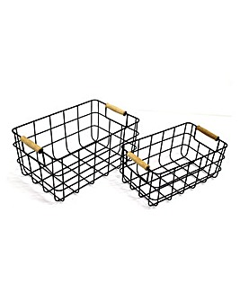 Wire Baskets With Wood Handles Set of 2
