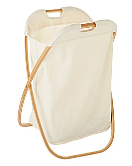 Bamboo & Canvas Laundry Hamper