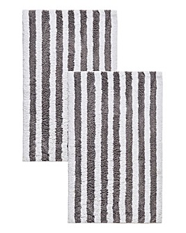 Set of 2 Stripe Bath Mats