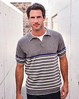 W&B Grey Stripe Knitted Polo R