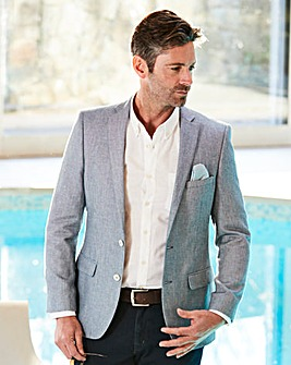 W&B Blue Cotton Textured Blazer R