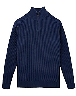 W&B Navy Zip Neck Jumper R