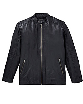 W&B Black Leather Biker Jacket R