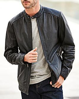 W&B Black Leather Biker Jacket R