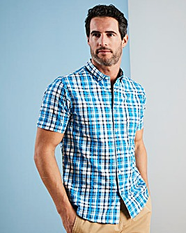 W&B Blue Check Seersucker Shirt L