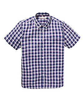 W&B Blue Check Linen Mix Shirt R