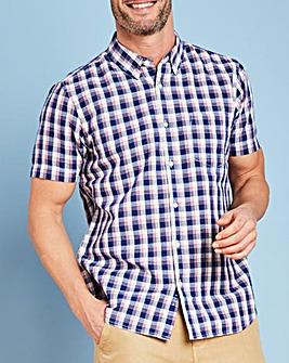 W&B Blue Check Linen Mix Shirt R