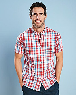 W&B Red Check Seersucker Shirt L