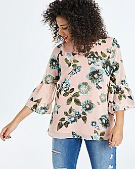 Junarose Floral Bell Sleeve Blouse