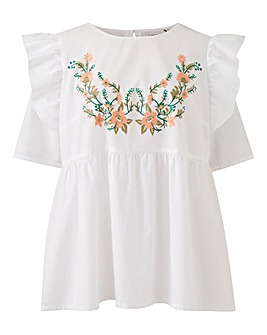 Junarose Embroidered Frill Sleeve Blouse