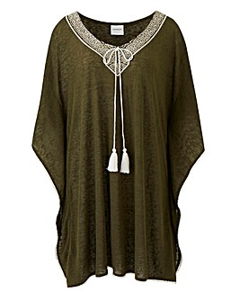 Junarose Embroidered Neckline Top