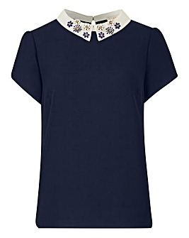 Oasis Embellished Collar Top