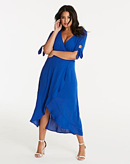Oasis Tie Sleeve Wrap Midi Dress