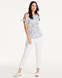 Oasis Shadow Floral Tie Sleeve Top
