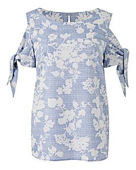 Oasis Shadow Floral Tie Sleeve Top