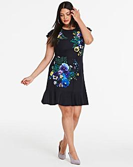 Oasis Pressed Flower Skater Dress
