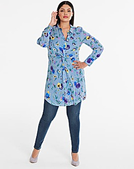 Oasis Pressed Flower Twist Front Dress