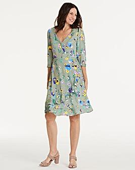 Oasis Pressed Flower Wrap Tea Dress