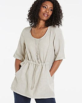 Eden Rock Drawstring Pure Linen Top