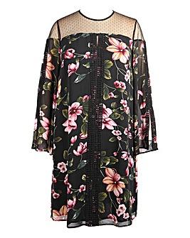 Lovedrobe Mesh Insert Swing Dress