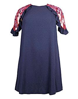 Lovedrobe Mesh Cold Shoulder Shift Dress