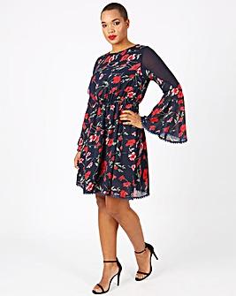 Lovedrobe Printed Bell Sleeve Dress