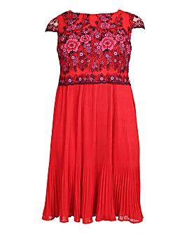 Lovedrobe Mesh Overlay Pleated Dress