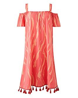 Junarose Tassel Hem Printed Dress