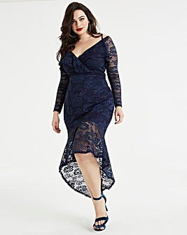 Ax Paris Curve Lace Detail Peplum Dress
