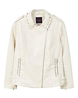Violeta by Mango Beaded Back PU Jacket