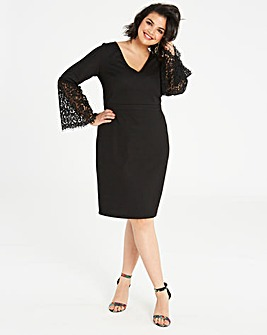 Lovedrobe Fluted Lace Sleeve Shift Dress