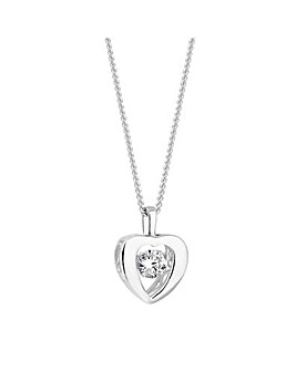 Simply Silver Gemstone Heart Necklace