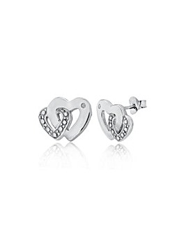 Sterling Silver & Diamond Heart Studs