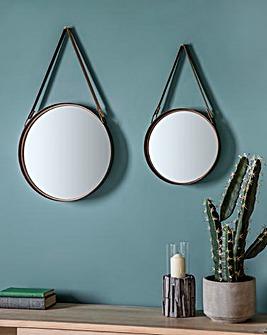 2 Marston Hanging Leather Strap Mirrors