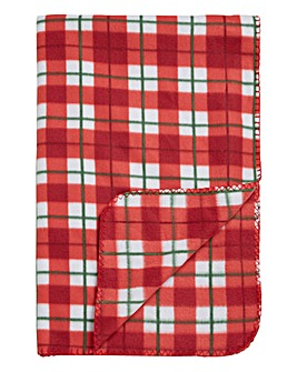 Pack of 2 Christmas Check Fleece Throw