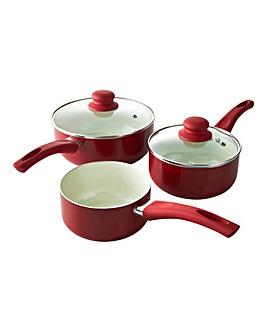 Ceramic 3 Piece Saucepan Set Red