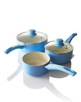 Ceramic 3 Piece Saucepan Set Blue