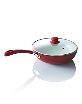 Ceramic 28cm Wok with Lid Red