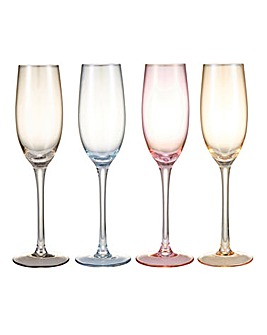 Colour Tint Flute Glasses Set of 4